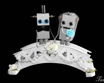 Robot Wedding Cake Topper, Wedding or Anniversary Gift, Steampunk