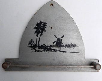 Vintage Wooden Hand Towel Rack with Windmill Landscape Scene