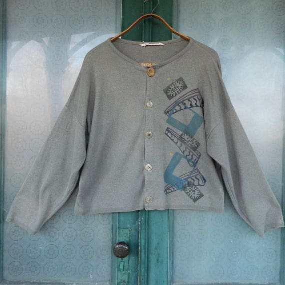 Blue Fish Artwear Slouchy Cropped Cardigan Sweater -OS- Gray/Brown Cotton Jersey Knit