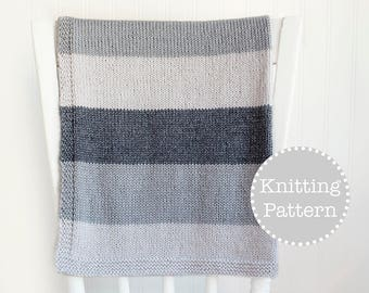 Knitting Pattern - Simple Striped Baby Blanket