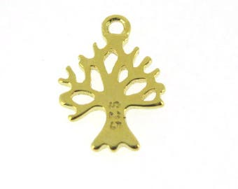 Gold Plated over Sterling Silver Charms- Tree Charm, Tree Silhouette Charm,Tree of Life - 11.5mm-(1 pc )-SKU: 201277_vm