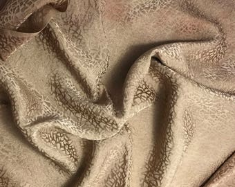 """Hand Dyed Golden Brown PEBBLES - Silk Jacquard Fabric - 9""""x22"""" remnant"""