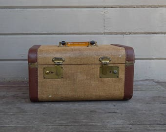 Vintage Tweed Train Case with Plastic Handle and Leather Trim