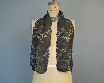 Victorian Black Silk Lace Scarf, 42 x 6 inches, Antique Vintage Mourning, 1800s, Head Veil or Neck Scarf
