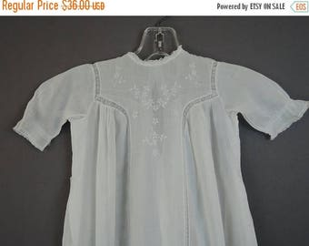 20% Sale - Antique Baby Dress Gown with Delicate Embroidery, early 1900s 26 chest, Hand sewn Edwardian