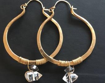 Gold Hoop Earrings 14k Gold Fill Earrings Large Hoops Wire Wrap Crystal Jewelry Daniellerosebean Herkimer Diamond Earrings Gold Hoops