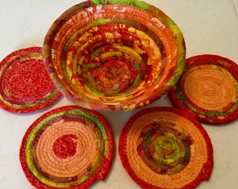 Coiled Fabric Coasters and 8 Inch Bowl Set, Trivet,  Mug Rug - orange, Green, Pink - Home and Living, Kitchen,  handmade