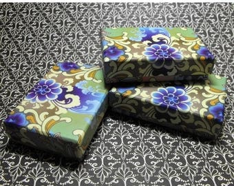 New Years Sale 10 Pack Blue and Purple Design Origami Style Floral Pattern 3.25X2.25X1 Inch Sized Cotton Filled Jewelry Presentation Boxes