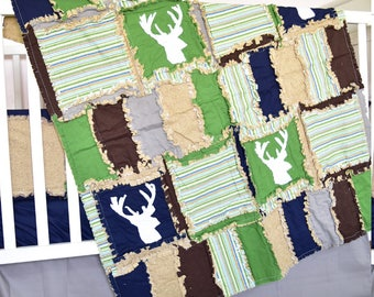Woodland Quilt  - Navy / Green / Brown Rustic Bedding - Deer Baby Blanket - Hunting Crib Bedding - Adventure Nursery - Forest Nursery