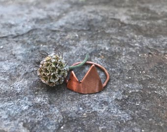 Copper Mountain Peak Ring Earthy Rustic Mountains Nature Jewelry Choose a Size