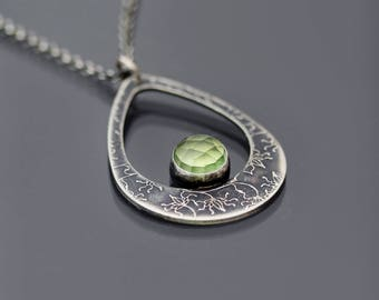 Prehnite and Sterling Silver Teardrop Necklace, vine lace necklace, green gemstone pendant, etched silver