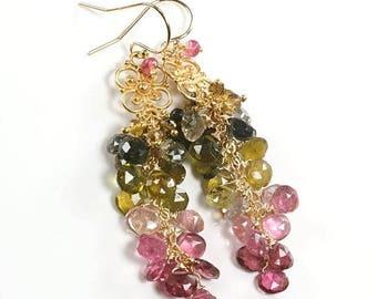 Summer SALE Tourmaline cluster earrings, Multi colour Tourmaline cascade earrings, Gold tourmaline jewellery, October Birthstone, Gift for H