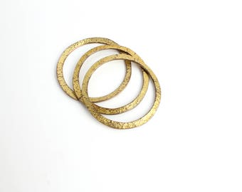Vintage Brutalist Gold Bangle Bracelets   1970s Textured Metal Bangles   Good Things Come in Threes