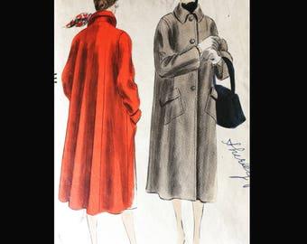 Vintage 50s Three Button Closure Car Coat Pilgrim Collar Huge Pockets Vogue 7319 B30