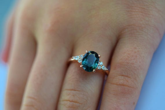 Teal sapphire engagement ring. Peacock green sapphire 2.33ct oval diamond ring 14k Rose gold. Campari Engagement ring by  Eidelprecious.