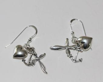 Sterling Silver 3D FAITH HOPE & CHARITY Earrings -