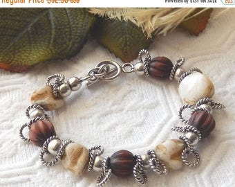 ChristmasInJulySALE..... Sale.....One of a Kind Sterling Silver, Wood, and Natural Mother of Pearl Bracelet