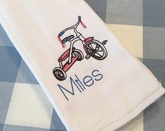 Monogrammed Name Tricycle Burp Cloth Embroidered Custom Baby