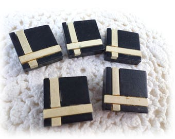 5 Square Black and Cream Buttons Wood Buttons 7/8 Inch