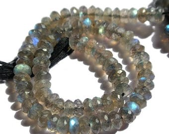 50% Off Sale 5x10 Inches Strands 5.5-6.5mm Blue Flashy Natural Labradorite Micro Faceted Rondelle Beads Finest Quality wholesale price