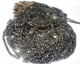 50% Off Sale Buy Wholesale lot - 10 Strand Super Finest Mystic metallic Silver Pyrite Micro Faceted Rondelles Length 14 Inches Size 3.5mm ap
