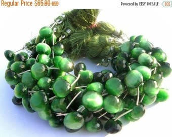 50% Off Sale Green Cats Eye Faceted Onion Briolettes 13 pcs 6 matched pair 1 focal pendant