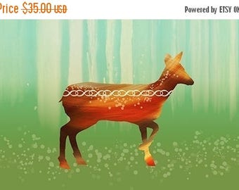 50% Off Summer Sale - Deer Art Print - Morning in the Forest - 12x18 - woodland modern art