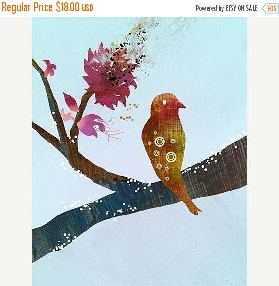 50% Off Summer Sale - Bird Tree Branch Art - The World Standing Still (blue) - 8x10 Print - Red Blue