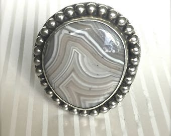 Banded Agate Taupe Gray Cream Silver Ring Size 10
