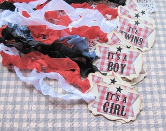 BBQ Baby Shower Favor Tags with ribbons - Set of 18- Choose Ribbons - Its a boy girl twins Baby Q Barbecue gender reveal