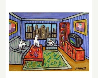 20% off Urban Siamese cats Watching Television Animal Art Print
