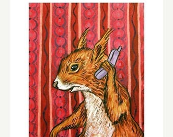20% off Red Squirrel Talking to Friend on a Cell Phone Art print