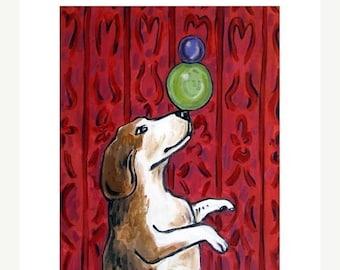 20% off Beagle Balancing Act Dog Art Print