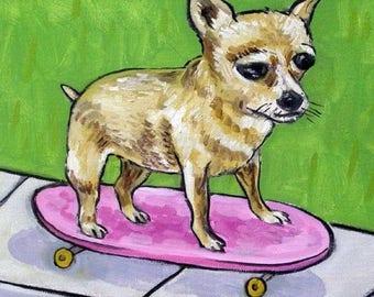 20% off Chihuahua Riding a Skateboard Dog Art Tile Coaster  JSCHMETZ modern abstract folk pop art american ART gift