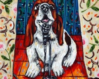 20% off BASSET HOUND- dog art tile, dog tile, basset hound tile, coaster, modern folk art, dog, gift,pop art