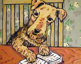 20% off Airedale Reading a Book Dog Art TILE Coaster Gift JSCHMETZ modern abstract folk pop art american ART gift