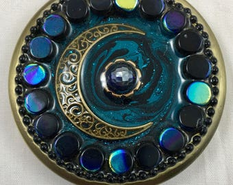 Unique Handcrafted Double Mirror Compact/ One of a Kind/ Fused Glass/ Gift/ Brushed Silver
