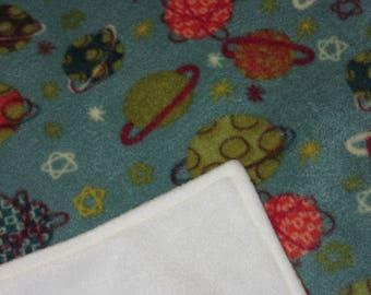 Toddler Blanket - Crib Bedding - Fleece Blanket - Patterned Planets