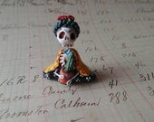 Day of the Dead matchbox shrine figure Frida in the Garden Seated with cactus