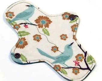 "8"" Ultrathin Reusable Cloth Pantyliner Minipad - Cotton Flannel top - Finches"