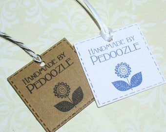 Handmade Tags -  Set of 20 - Personalized - Store tags - Flower