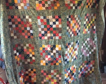 ANTIQUE QUILT TOP, coverlet, patchwork, 19th century fabrics, hand sewn, paisley