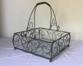 Vintage wire basket caddy with glass bottom / use in bathroom / vanity / bedroom decor - black and swirled french decor
