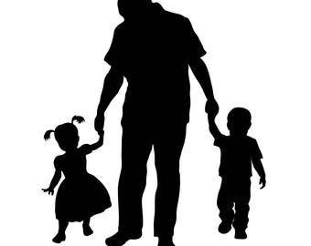 Reserved Listing for Courtney - Silhouette of Father and Children - SVG file