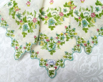 Vintage Handkerchief Floral Cotton Hankie New Tags Clothing Accessories Green Blue Hanky Mid Century Unused MWT Vintage Linens