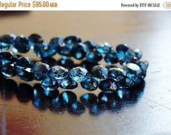 Deep Discount Sale Outstanding London Blue Topaz Gemstone Briolette Faceted Onion 7 to 7.5mm 14 beads