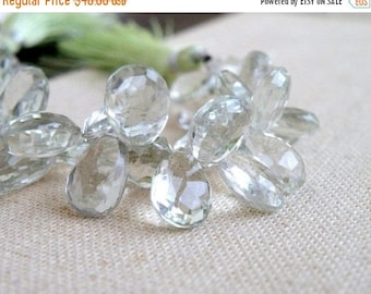 Deep Discount Sale Outstanding Green Amethyst Prasiolite Gemstone Briolette Faceted TearDrop Pear 12 to 13mm 14 beads