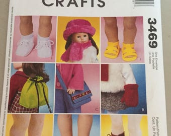"McCalls  3469 18"" doll pattern - shoes backpack  purse slippers hat scarf mittens boots sandals"