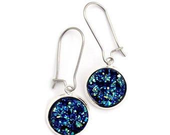 Deep Blue Faux Druzy Earrings Stainless Steel Kidney Earwires