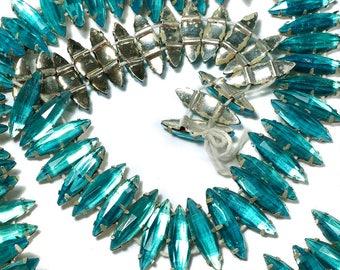 Vintage 18x6mm Blue Rose Montee Beads Aqua Glass Navettes 12 Pcs.